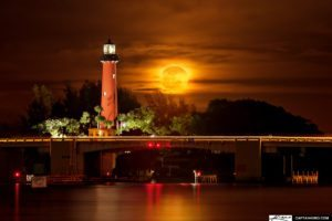 Burning Moonrise at Jupiter Inlet Lighthouse Florida